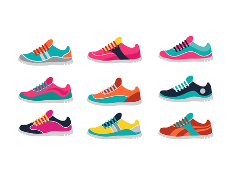 Vector running, sprort and gym shoes - sneakers set