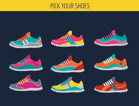 Vector running, sprort en gymschoenen - sneakers set Stock Illustratie