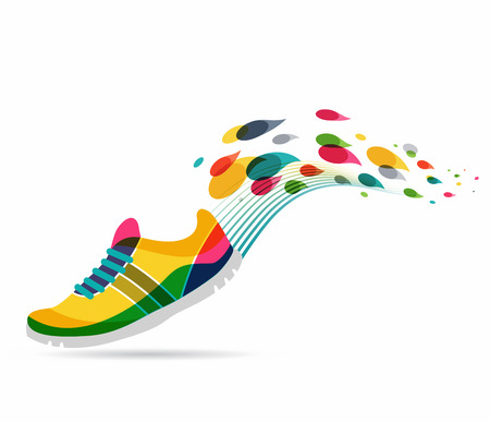 colorful: Colorful vector poster - running and sport