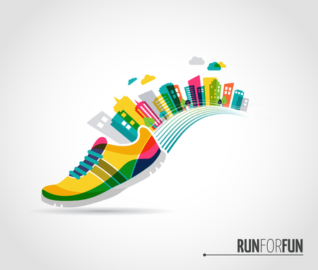 Colorful vector poster - running shoe and city lanscape Çizim