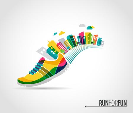 running: Vector colorido cartel - zapato para correr y paisaje de la ciudad