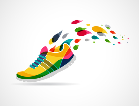 running shoe: Colorful vector poster - running and sport