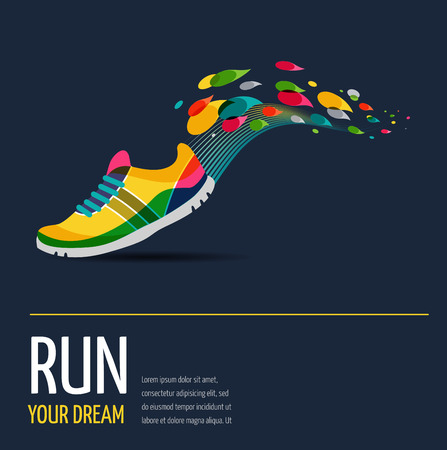 corriendo: Vector colorido cartel - correr y el deporte Vectores