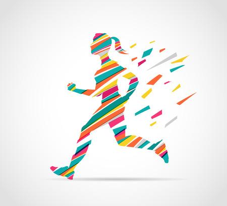 vrouw lopen van een marathon - kleurrijke poster