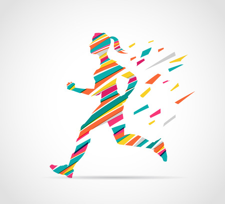 woman run: woman running a marathon - colorful poster