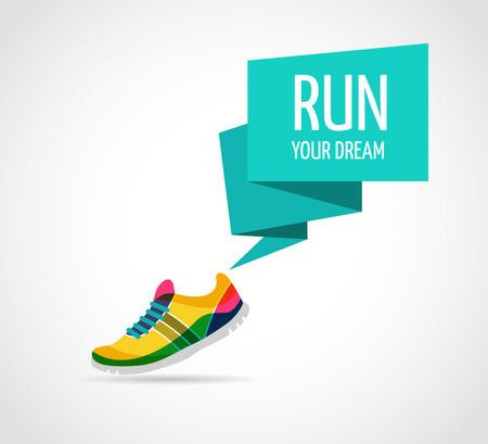 walking shoes: Colorful vector poster - running and sport