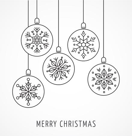diciembre: Snowlakes, arte lineal geométrica de Navidad adornos, fondo