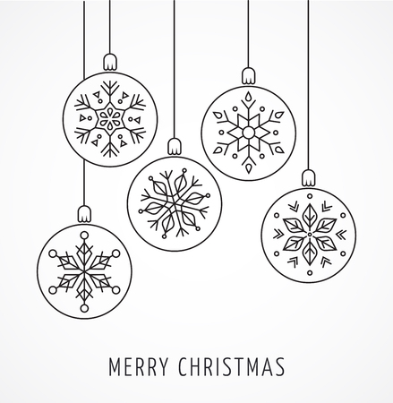 snow: Snowlakes, geometric line art Christmas ornaments, background