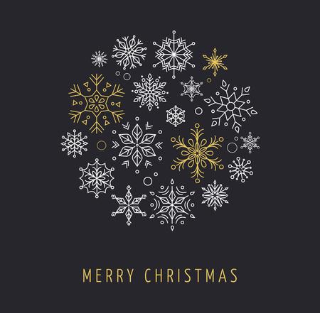 flocon de neige: Snowlakes définir, l'art de ligne géométrique décorations de Noël, fond Illustration