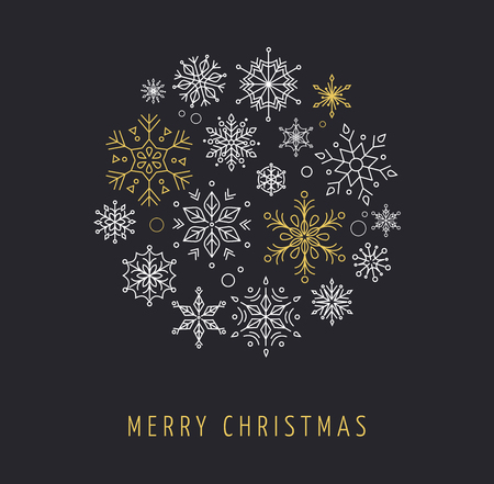 copo de nieve: Snowlakes establecer, arte lineal geom�trica de Navidad, fondo