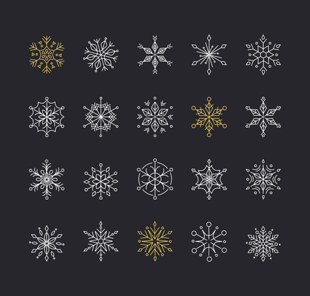 snow crystals: Snowlakes, geometric line art Christmas ornaments, pattern and background