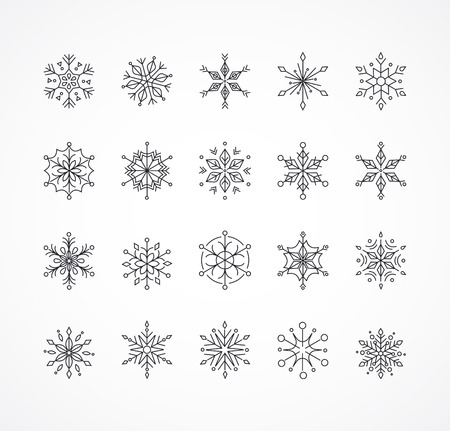 Snowlakes, geometric line art Christmas ornaments, pattern and background
