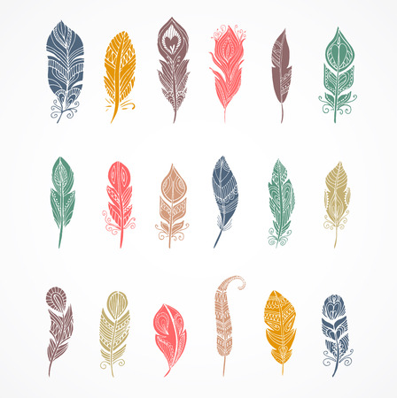 indian feather: Hand drawn bohemian, tribal, ethnic and indian colorful set of feather