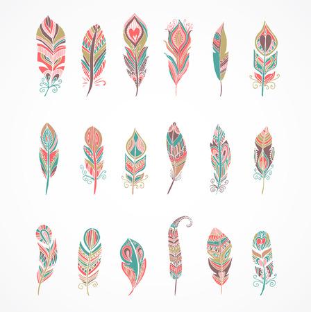 pluma: Dibujado a mano bohemio, conjunto colorido tribal, étnica y indio de la pluma