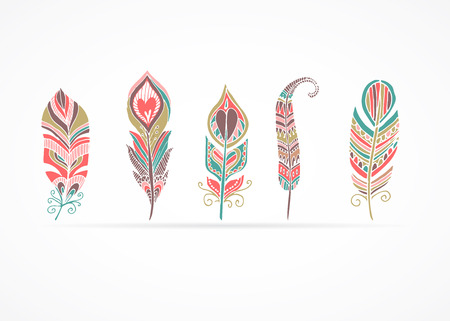 Hand drawn bohemian, tribal, ethnic and indian colorful set of feather