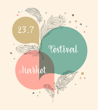 Bohemian Festival, tribal and ethnic poster Ilustrace