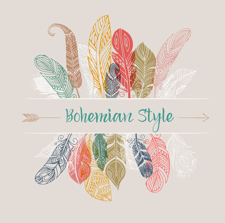 gypsy: Bohemian style poster with gypsy and ethnic colorful feathers