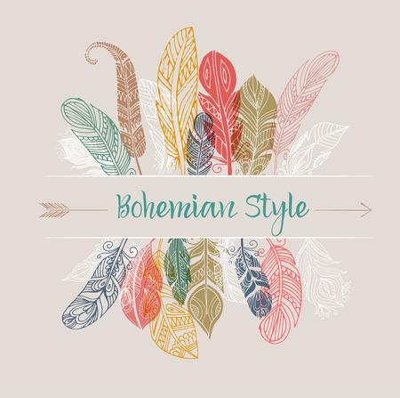 gitana: Cartel del estilo bohemio con gitana y plumas de colores étnicos