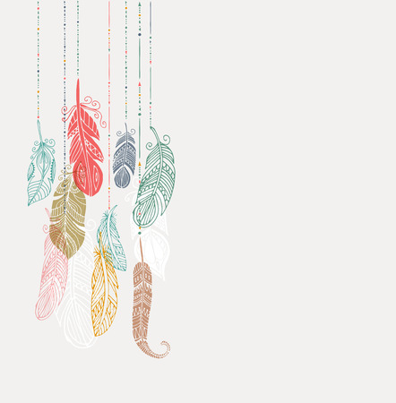 indios americanos: Cartel del estilo bohemio con gitana y plumas de colores étnicos