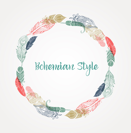 hand silhouette: Bohemian style poster with gypsy and ethnic colorful feathers