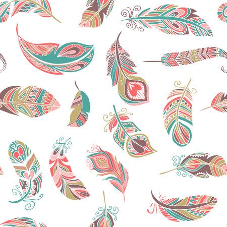 Bohemia, plumas estilo étnico sin patrón Ilustración de vector