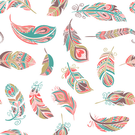 style artistic: Bohemian, ethnic style feathers seamless pattern