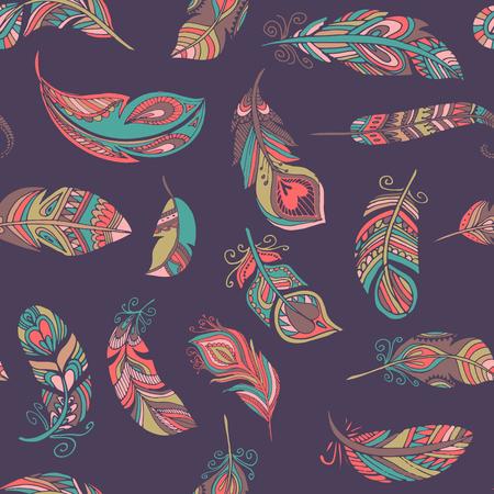 ethnic style: Bohemian, ethnic style feathers seamless pattern