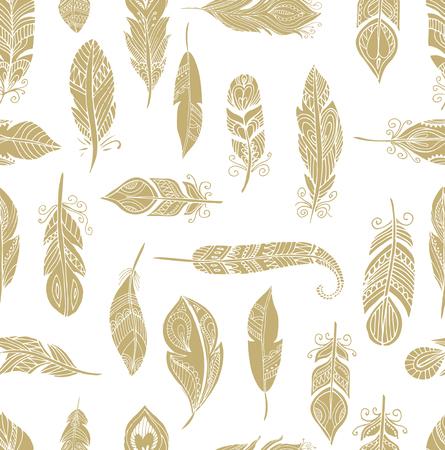 bohemian: Bohemian, ethnic style feathers seamless pattern