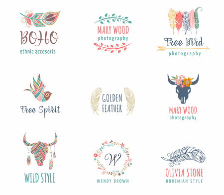 rustic: Bohemian, tribal, ethnic icon set with feather, bird and flower wreath