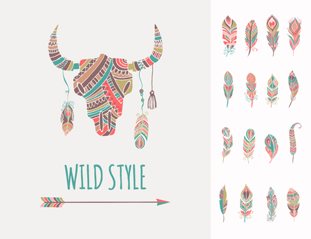 Bohemian, ethnic style bull skull poster with set of feathers Illustration