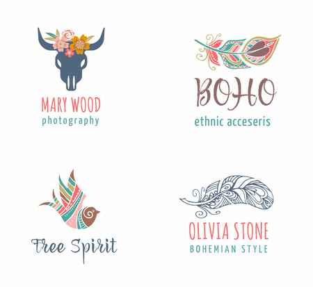 Bohemian, tribal, ethnic icon set with feather, bird and skull of bull Illustration