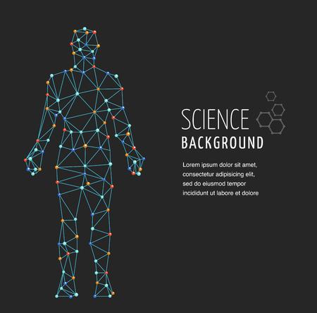 evolucion: ADN, símbolo genética del hombre con la estructura de la molécula de ADN abstracta