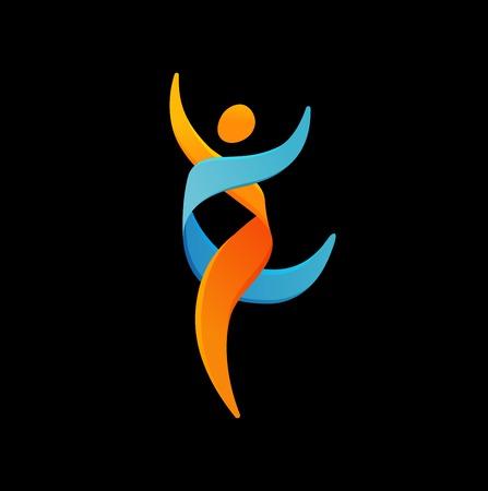 ADN, símbolo genética - correr, icono del hombre feliz Ilustración de vector