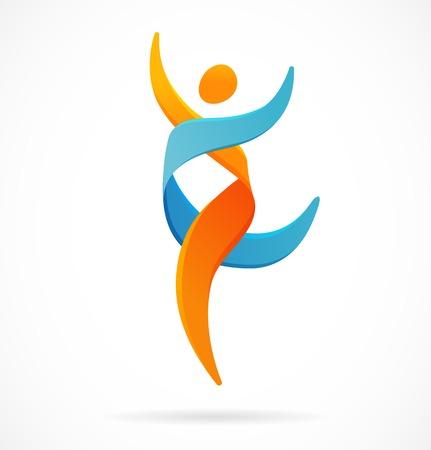 persona feliz: ADN, símbolo genética - correr, icono del hombre feliz