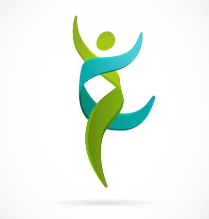 ADN, símbolo genética - correr, icono del hombre feliz