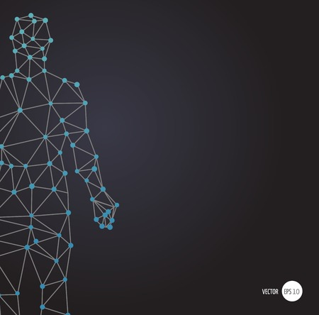 human vector: DNA, genetic symbol of man with abstract dna molecule structure