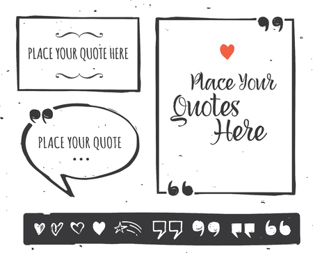 speech marks: Quotes templates - hand drawn black and white collection Illustration