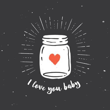 mason: mason jar with heart, love quote on the black background Illustration