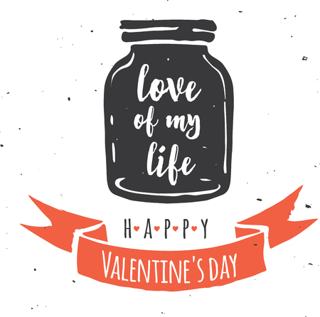 mason jar with heart, love quote on the black background Illustration