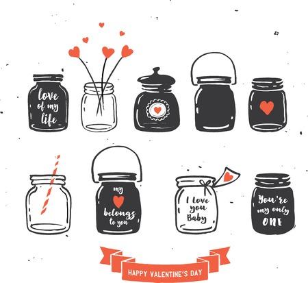 mason: hand drawn mason jar collection, love quotes, red ribbon