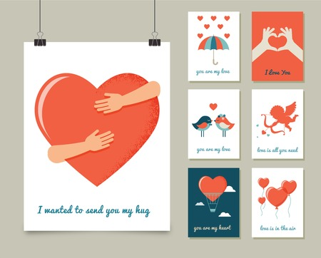 Valentines day greeting cards, modern collection Ilustrace