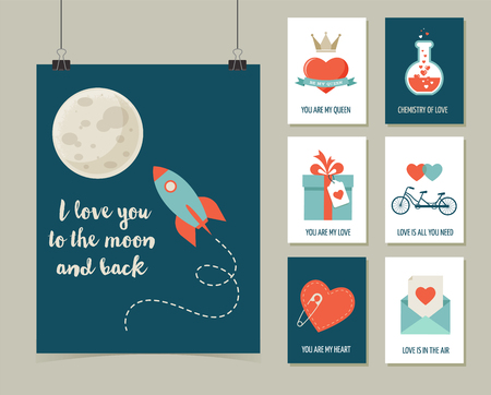 moon angels: Valentines day greeting cards, modern collection Illustration