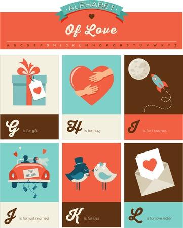 San Valentino e amore ABC, poster alfabeto e biglietti di auguri Vettoriali