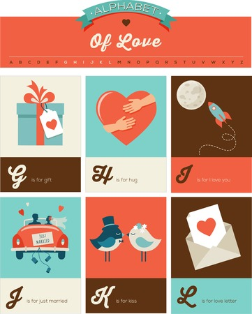 Valentines day and love ABC, alphabet poster and greeting cards Illustration