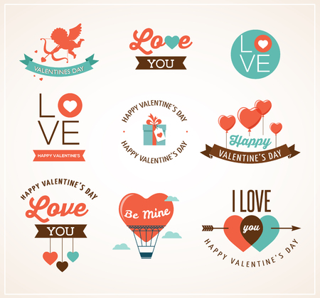 moon angels: Valentines day icons, lettering, ribbons and elements Illustration