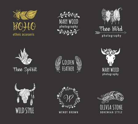 bohemian: Bohemian, tribal, ethnic icon set with feather, bird and wreath