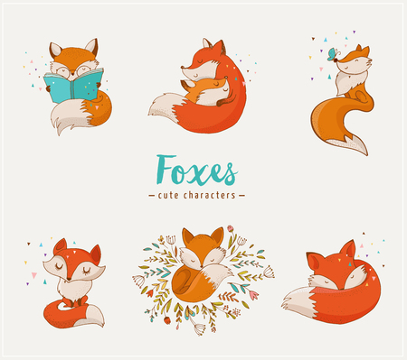 cute cards: Fox characters cute, lovely illustrations - greeting cards Illustration