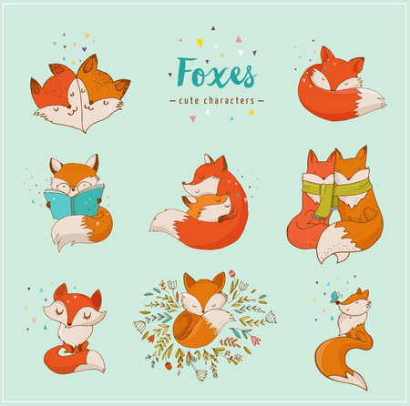 Fox characters cute, lovely illustrations - greeting cards Vectores