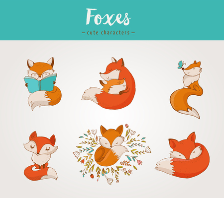 Fox characters cute, lovely illustrations - greeting cards Ilustração
