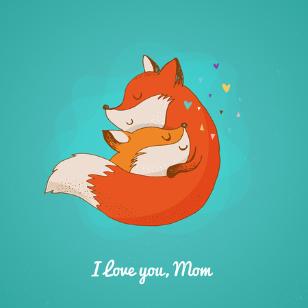 foxy: Fox illustration - greeting cards, Mothers day